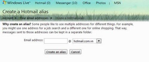 Tạo 5 tài khoản ảo từ một tài khoản chính trong Hotmail