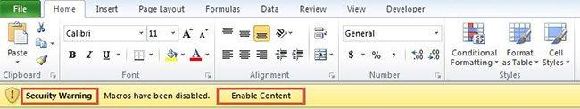 Cách bật, tắt macro trên Excel