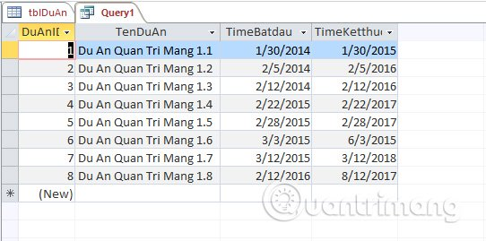 Truy vấn Tham số (Parameter Query) trong Access 2016