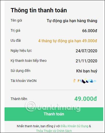 Cách mua gói VIP VieON 49k 4 tháng