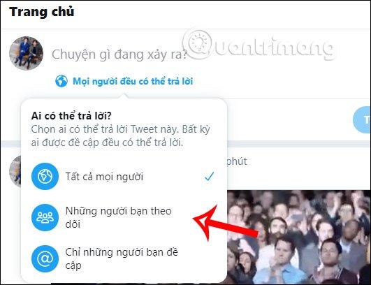 Cách hạn chế người trả lời bài đăng Twitter