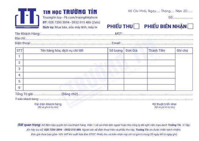 Phiếu thu biên nhận dịch vụ tin học Trường Tín