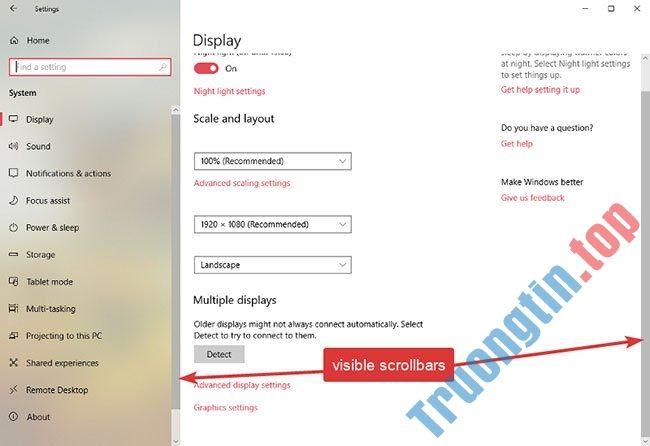 Cách hiển thị thanh cuộn (scrollbar) trong ứng dụng trên Windows 10