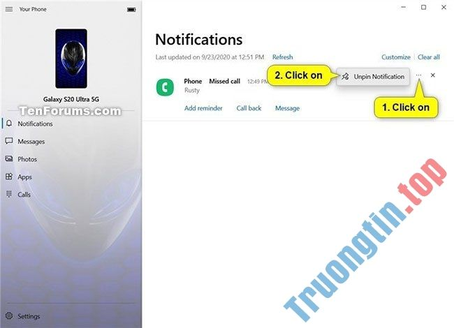 Cách ghim và bỏ ghim thông báo trong ứng dụng Your Phone trên Windows 10