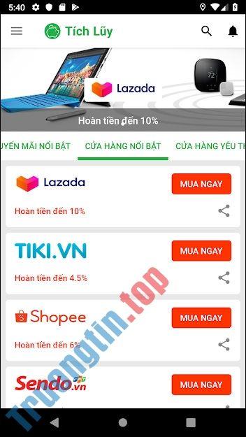6 App mua sắm hoàn tiền được yêu thích nhất