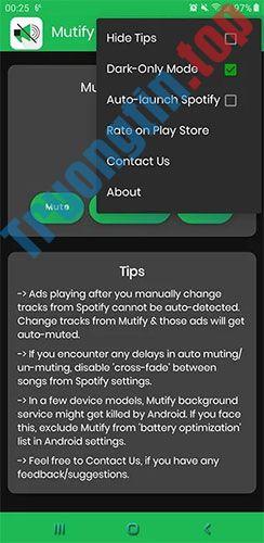 Cách tắt âm thanh quảng cáo trên Spotify Android với ứng dụng Mutify