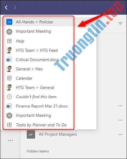 Cách mở lại các vị trí đã truy cập trước đó trong Microsoft Teams
