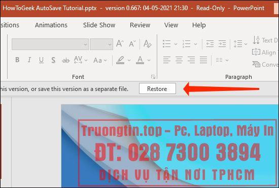 Cách xem và khôi phục phiên bản cũ slide PowerPoint