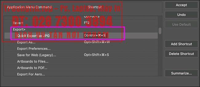 Cách thiết lập và sử dụng tính năng Quick Export trong Photoshop