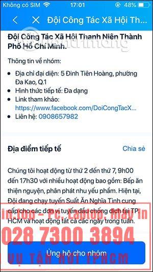 Cách tìm điểm hỗ trợ người dân TP. Hồ Chí Minh trên Zalo