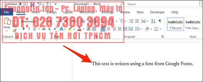 Cách sử dụng phông chữ Google (Google Fonts) trong Microsoft Word