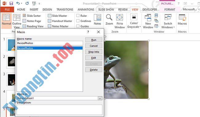 Cách thay đổi kích thước ảnh PowerPoint bằng Macro